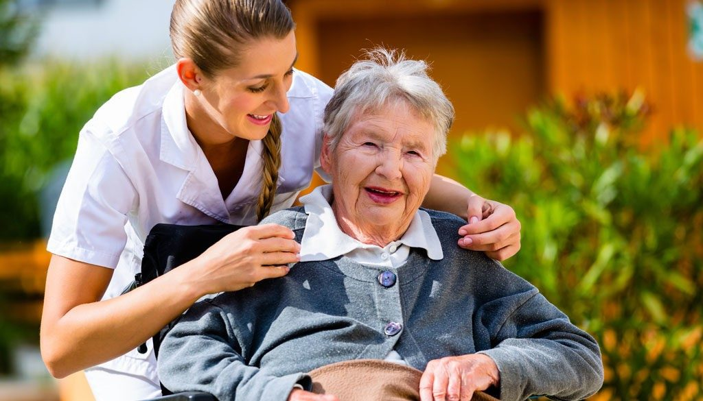 Elderly Woman with Senior Care Worker