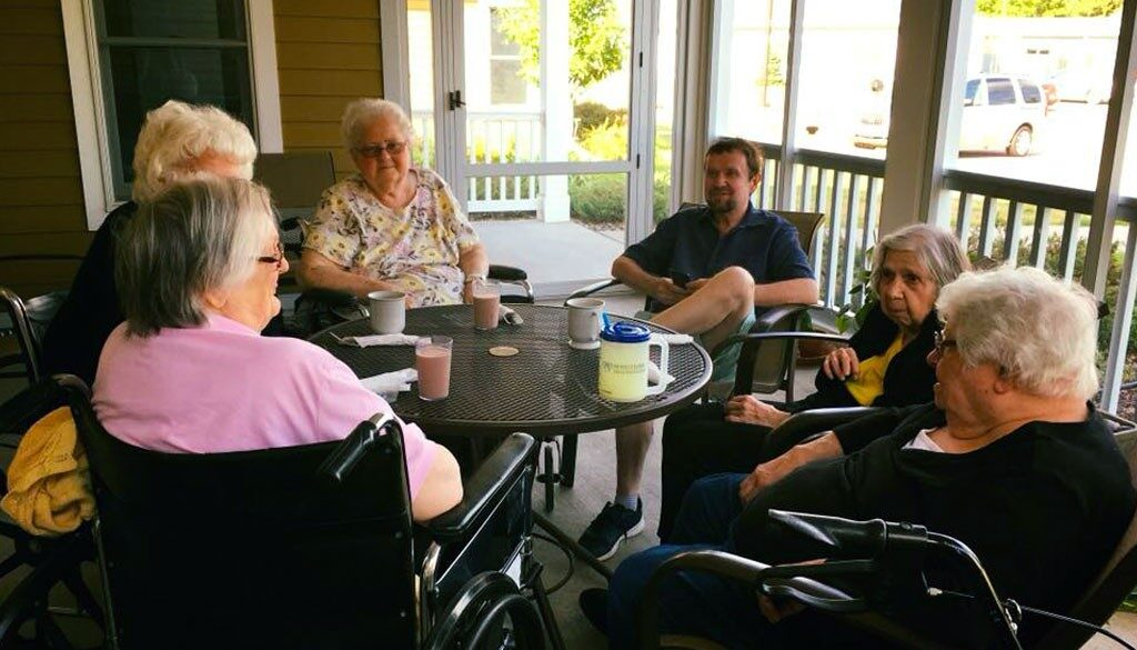 Sitting on the patio with friends and family