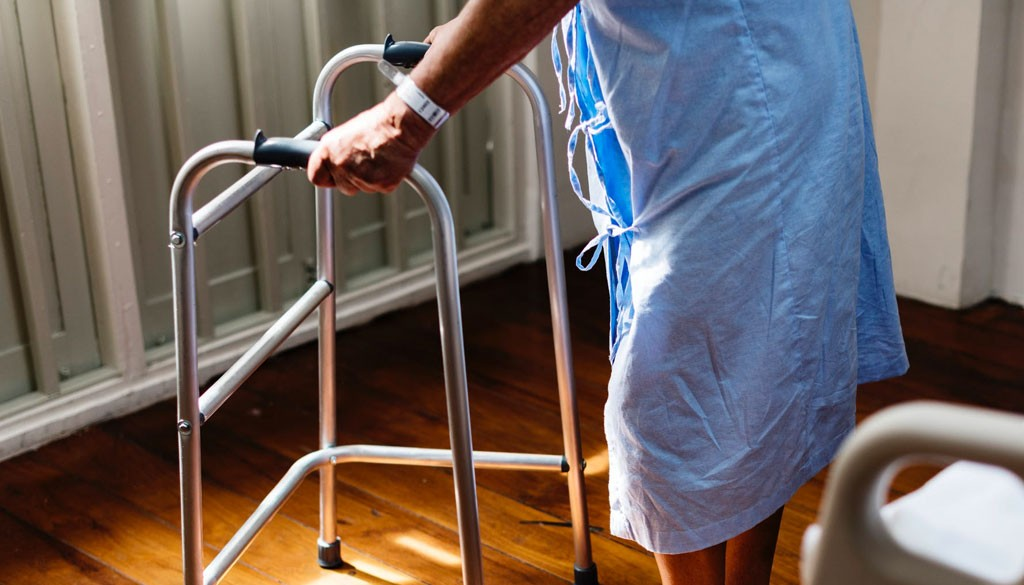 A patient using a walker.