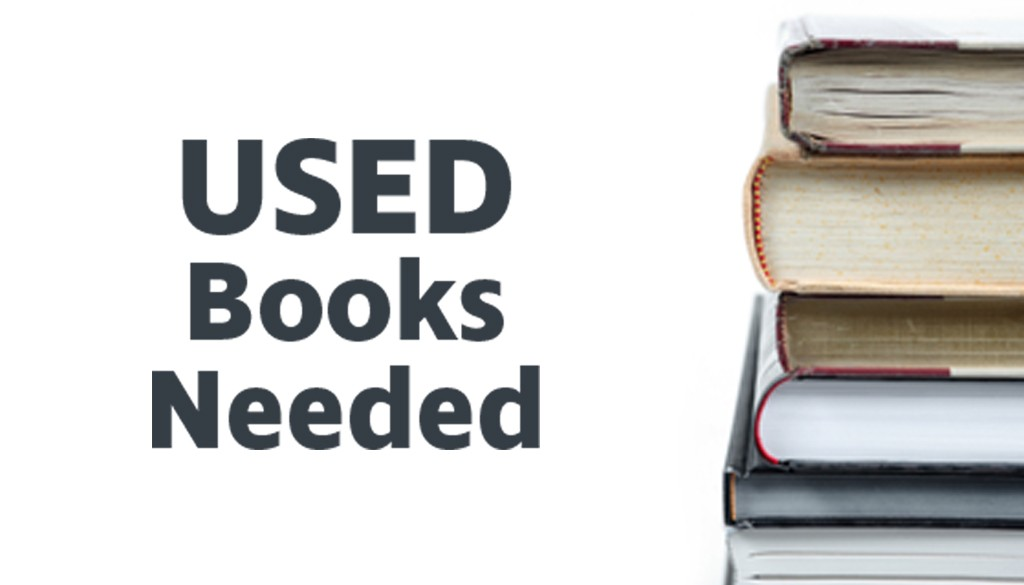 """""""Used Booked Needed"""" graphic with books."""