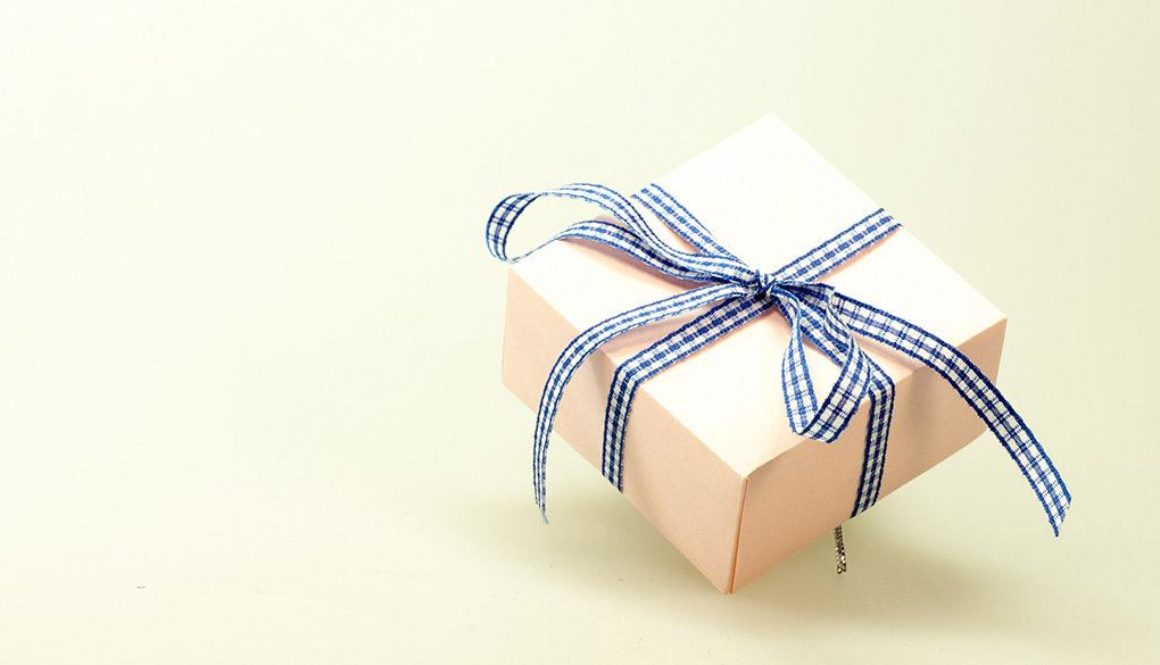 wrapped giftbox with a bowtie