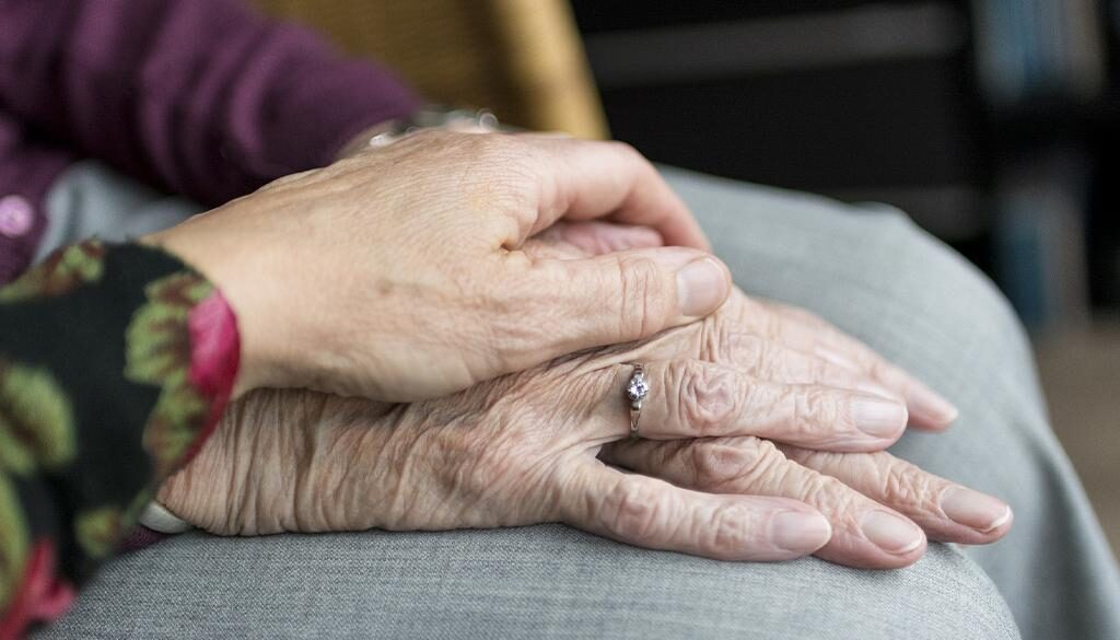 hands of elderly and adult.