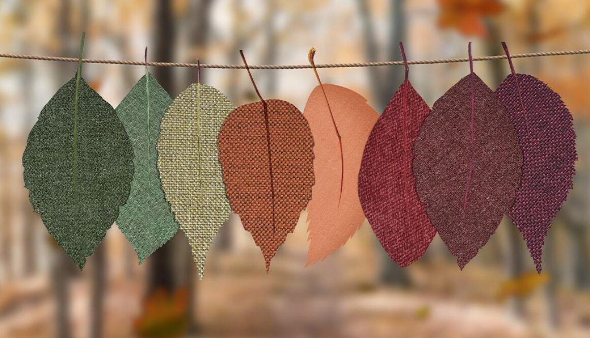 Decorative hanging fabric cut into leaf shapes.
