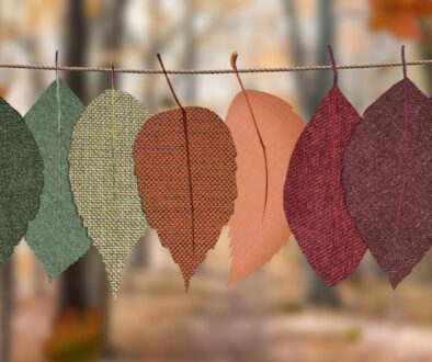 Decorative hanging fabric cut into leaf shapes.