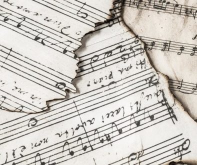 Music sheets with burnt edges.