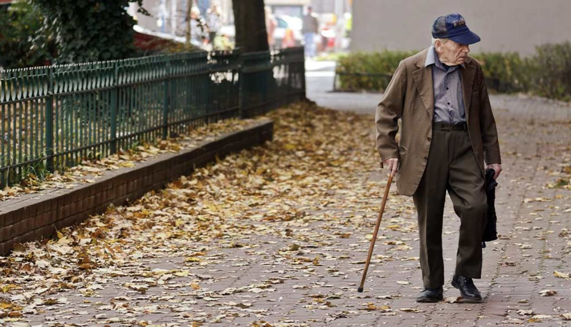 An active senior out for a walk.