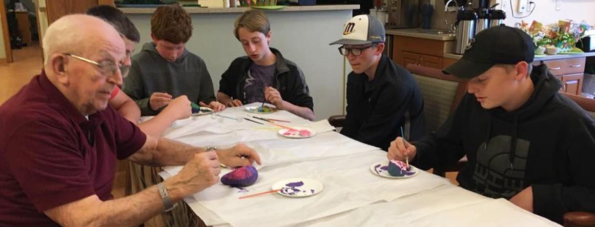 Making Crafts with Residents at The Neighbors of Dunn County in Menomonie, WI