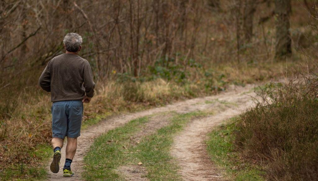 Senior man running to exercise.